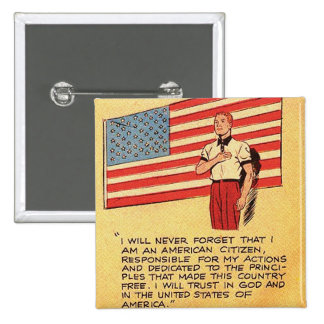 Retro Vintage Kitsch America 50s Communist Comic 2 Inch Square Button