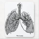 """Retro Vintage Kitsch Anatomy Medical Lungs Mouse Pad<br><div class=""""desc"""">Retro Vintage Kitsch Anatomy Medical Lungs,  cool very old scientific medical illustration of the lungs and respiratory system,  frankly the right lung doesn&#39;t look so good - I&#39;d have that checked out!</div>"""