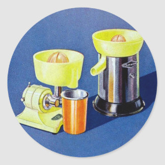 Retro Vintage Kitsch Appliance Fruit Juicer Art Classic Round Sticker
