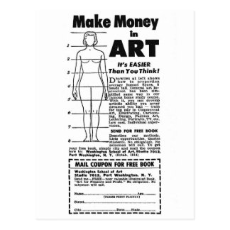 Retro Vintage Kitsch Art School Make Money in Art! Postcard