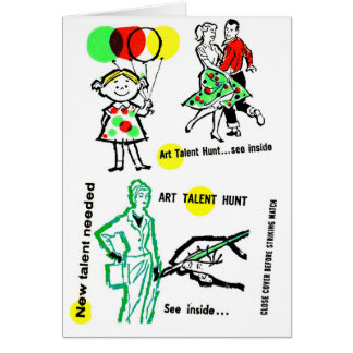 Retro Vintage Kitsch Art Talent Hunt School Ad Card