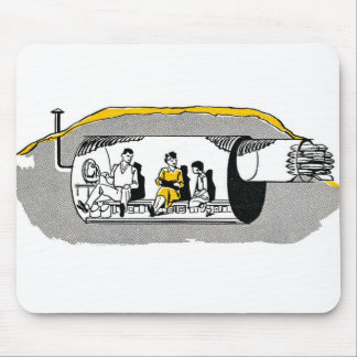 Retro Vintage Kitsch Atomic Air Raid Shelter Mouse Pad