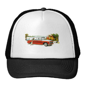 Retro Vintage Kitsch Auto 60's Station Wagon Trip Trucker Hat