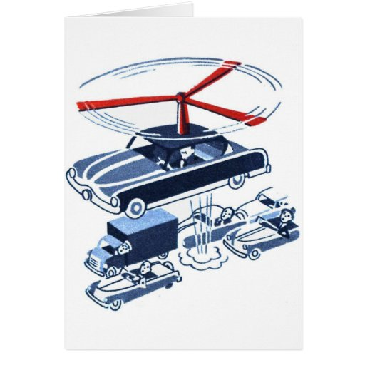 Retro Vintage Kitsch Automobile Traffic Jam Buster Greeting Card