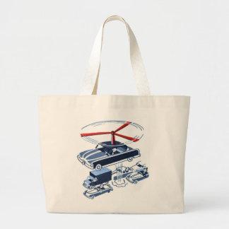 Retro Vintage Kitsch Automobile Traffic Jam Buster Large Tote Bag