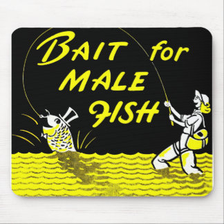 Retro Vintage Kitsch Bait for Male Fish Mouse Pad