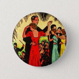 Retro Vintage Kitsch Ballroom Dancers Pinback Button