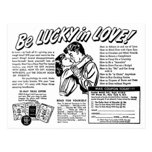 vintage ic book ad gifts on zazzle Mattel Bicycle retro vintage kitsch be lucky in love romance ad postcard