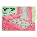 Retro Vintage Kitsch Bed Spread 40s Ad Ensemble Greeting Cards
