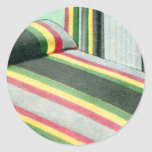 Retro Vintage Kitsch Bed Spread Carnival Stripes Classic Round Sticker