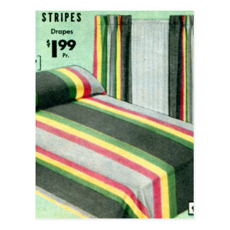 Retro Vintage Kitsch Bed Spread Carnival Stripes Postcard