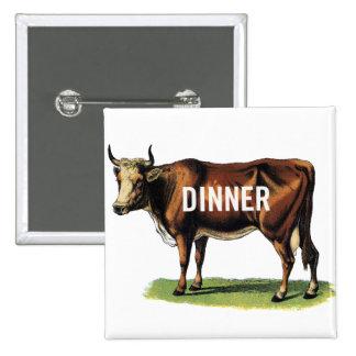 Retro Vintage Kitsch Beef Cow Dinner Ad Art 2 Inch Square Button