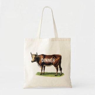 Retro Vintage Kitsch Beef Cow Dinner Ad Art Tote Bag