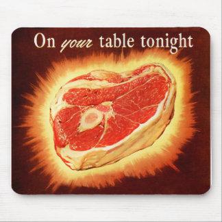Retro Vintage Kitsch Beef Steak Dinner Mouse Pad