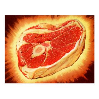 Retro Vintage Kitsch Beef Steak Dinner Postcard