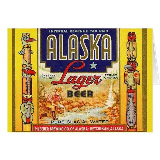 Retro Vintage Kitsch Beer Alaska Lager Label Card