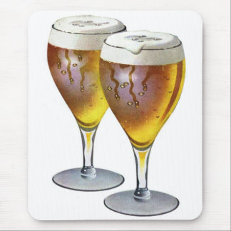Retro Vintage Kitsch Beer Ale Beer Glasses Ad Mouse Pad