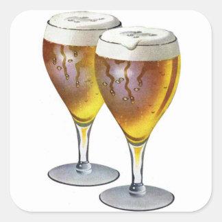 Retro Vintage Kitsch Beer Ale Beer Glasses Ad Square Sticker