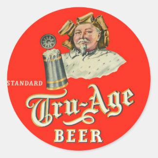 Retro Vintage Kitsch Beer Ale Tru-Age Scranton Classic Round Sticker