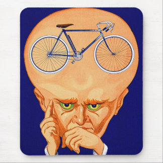Retro Vintage Kitsch Bicycle Head Mouse Pad