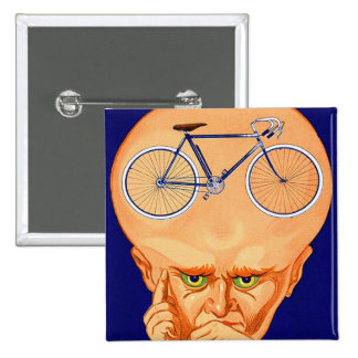 Retro Vintage Kitsch Bicycle Head Pinback Button