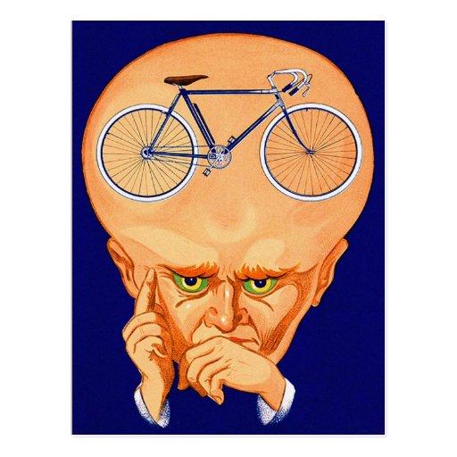 Retro Vintage Kitsch Bicycle Head Post Card