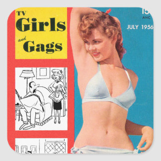 Retro Vintage Kitsch Bikini Pin Up TV Girls & Gags Square Sticker