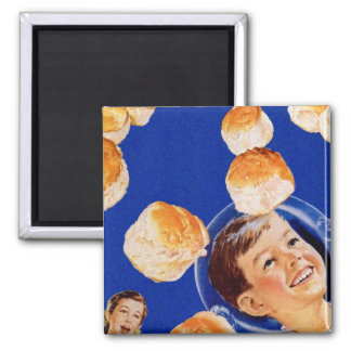 Retro Vintage Kitsch Biscuit Space Boy Ad 2 Inch Square Magnet