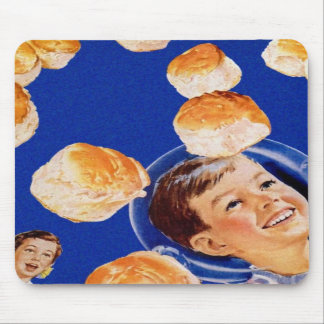 Retro Vintage Kitsch Biscuit Space Boy Ad Mousepad