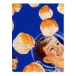 Retro Vintage Kitsch Biscuit Space Boy Ad Postcard