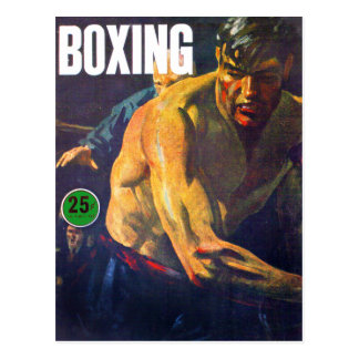 Retro Vintage Kitsch Boxing Boxer Postcard