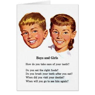 Retro Vintage Kitsch Boys & Girl Brush Your Teeth! Cards
