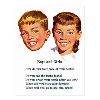 Retro Vintage Kitsch Boys & Girl Brush Your Teeth! Postcard