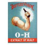 Retro Vintage Kitsch Brew Beer Malt Bottled Vigor Greeting Card