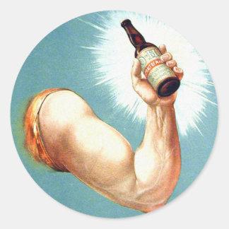 Retro Vintage Kitsch Brew Beer Malt Bottled Vigor Classic Round Sticker