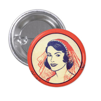 Retro Vintage Kitsch Bridal Shower Party Games Pinback Button