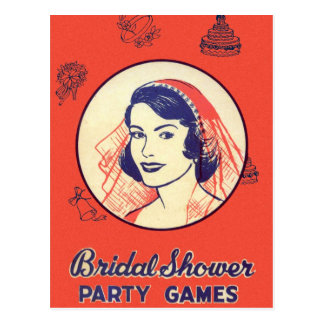 Retro Vintage Kitsch Bridal Shower Party Games Postcard