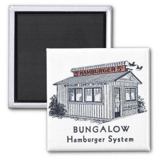 Retro Vintage Kitsch Bungalow Hamburger System 2 Inch Square Magnet