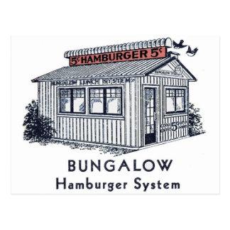 Retro Vintage Kitsch Bungalow Hamburger System Postcard
