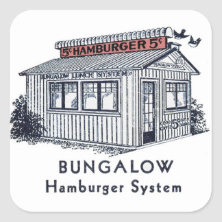 Retro Vintage Kitsch Bungalow Hamburger System Square Sticker