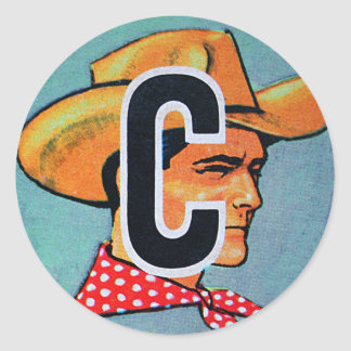 Retro Vintage Kitsch C is for Cowboy Alphabet Bloc Classic Round Sticker
