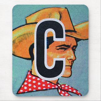 Retro Vintage Kitsch C is for Cowboy Alphabet Bloc Mouse Pad