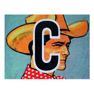 Retro Vintage Kitsch C is for Cowboy Alphabet Bloc Postcard
