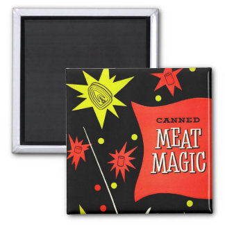 Retro Vintage Kitsch Canned Meat Magic 2 Inch Square Magnet