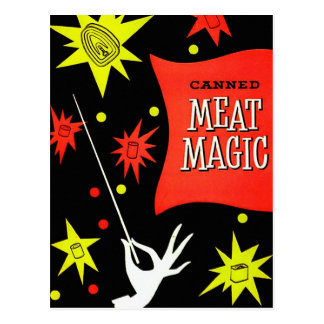 Retro Vintage Kitsch Canned Meat Magic Post Card
