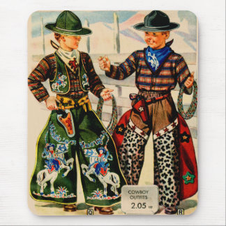 Retro Vintage Kitsch Catalog Boys Cowboy Outfits Mouse Pad