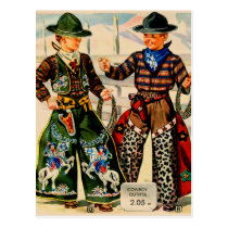Retro Vintage Kitsch Catalog Boys Cowboy Outfits Postcard