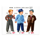 Retro Vintage Kitsch Catalog Kids Boys Coats Postcard