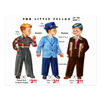 Retro Vintage Kitsch Catalog Kids Boys Coats Postcard