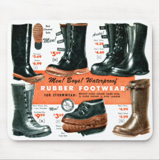 Retro Vintage Kitsch Catalog Rubber Footwear Boots Mouse Pad